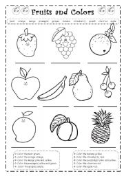 English Worksheet: Fruits and colors