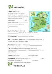 English Worksheet: IRELAND - FACT FILE, MAP ACTIVITY