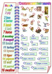 English Worksheets: Creatures and their sounds Part 2 - Matching activities ** fully editable