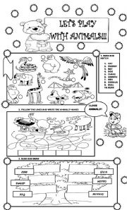 English Worksheets: LET�S PLAY WITH ANIMALS!!! FOR LITTLE KIDS!!!