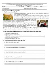 English Worksheet: Test On School (7th grade)