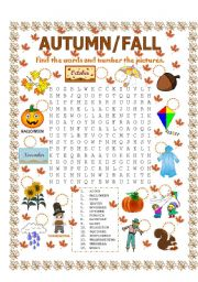 English Worksheets: WORD SEARCH (AUTUMN/FALL)
