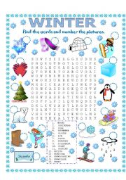 English Worksheet: WORD SEARCH (WINTER)
