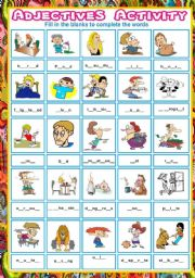 English Worksheets: Adjectives fill in the blanks