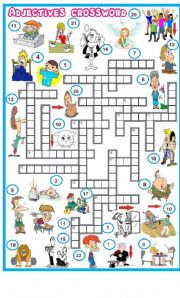 English teaching worksheets: Adjectives crossword