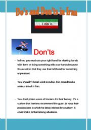 English Worksheets: Do�s and Don�ts in Iran