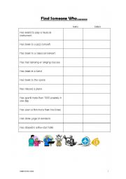 English worksheet: Find Someone Who