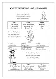 English Worksheets: What do the Simpsons love/like/hate...?