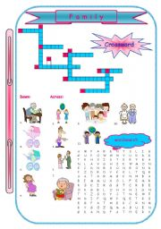 English Worksheet: Family Crossword and Word Search
