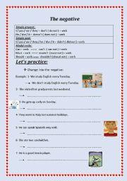 English worksheet: The negative