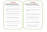 English Worksheets: conjunctions- 1 (so and because)