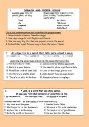 English Worksheets: First introduction to nouns, adjectives, and verbs