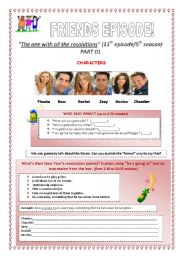 English Worksheet: PART 01 - Video Session - Friends Episode: