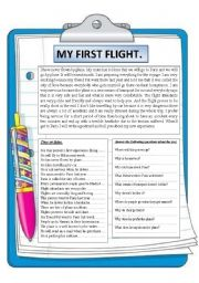 English Worksheets: my first flight. Reading comprehension.