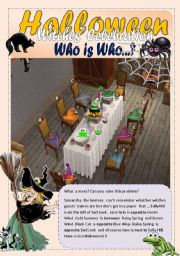English Worksheet: Halloween who is who - Prep. of  Place