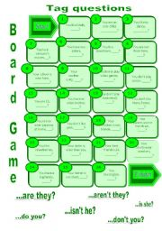 English Worksheets: Tag questions board game