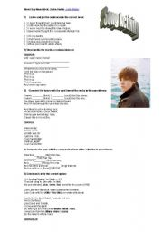 English Worksheets: Never Say Never - Justin Bieber