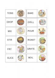 English Worksheet: Vocabulary Domino Set Cooking Verbs 1/2