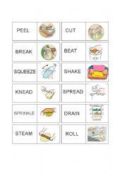 English Worksheet: Vocabulary Domino Set Cooking Verbs 2/2