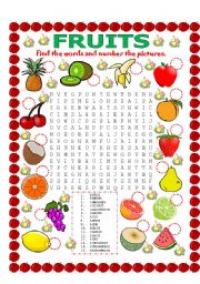 English Worksheet: WORD SEARCH (FRUITS) AND NUMBER THE PICTURES