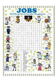 English Worksheet: WORD SEARCH (JOBS) AND NUMBER THE PICTURES