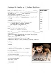 English Worksheets: Timbaland ft Katy Perry - If We Ever Meet Again