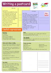 English Worksheet: Writing tips 12: Writing a postcard (B&W)