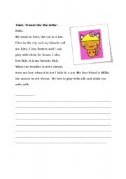 English Worksheets: Transcription Exercise