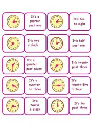 English Worksheet: TIME DOMINO