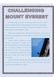 English Worksheets: Challenging Mount Everest