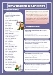 English Worksheet: NEWSPAPERS