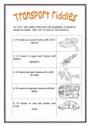 transport riddles esl worksheet by purple witch. Black Bedroom Furniture Sets. Home Design Ideas