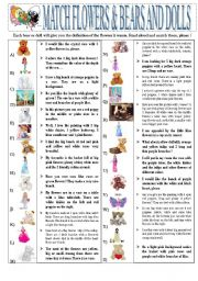 English Worksheet: FLOWERS AND BEARS MATCHING GAME