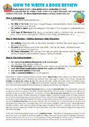 English Worksheet: HOW TO WRITE A BOOK REVIEW