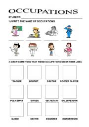 Printables Career Worksheets For Elementary Students english teaching worksheets jobsoccupationsprofessions occupations