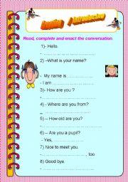 English Worksheets: Greeting  /  Introducing