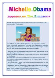 READING PROJECT - 12 TASKS - 7 pages - Answer KEY  - Michelle Obama appears on the Simpsons.
