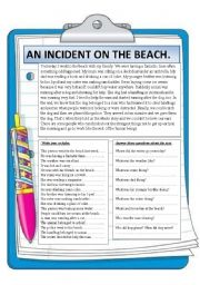 English Worksheet: An incident on the beach. Reading.