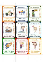 English Worksheets: Neither did I / But I did - go fish cards