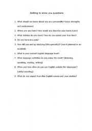 English Worksheets: First class / lesson. Getting to know you questions.