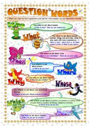 English Worksheet: QUESTION WORDS: grammar guide/poster & exercises (key included- fully editable)