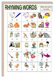 English Worksheet: Phonetic Vowel sounds:RHYMING WORDS: (a,e,i,o sounds)1 of 5