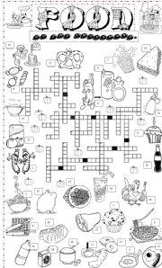esl worksheets for beginners food crossword 2. Black Bedroom Furniture Sets. Home Design Ideas