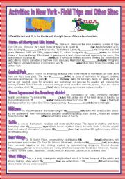 English Worksheet: A TOUR AROUND ENGLISH SPEAKING COUNTRIES - ACTIVITIES IN NEW YORK - FIELD TRIPS AND OTHER SITES