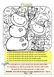 English Worksheets: Color by Plural