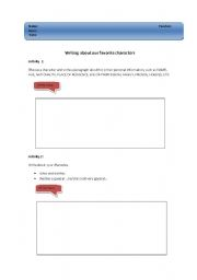 English Worksheets: Writing about our favorite characters