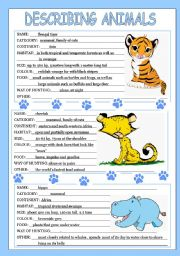 English Worksheet: describing animals 2/3