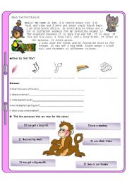 English Worksheets: Animals test for elementary students