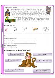 English Worksheet: Animals test for elementary students