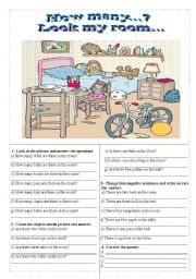 English Worksheet: How many... There are/ there is...